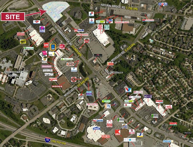 Trade Area & ADT Traffic Counts of 12433 St. Charles Rock Road, Bridgeton, MO | Baldridge Properties