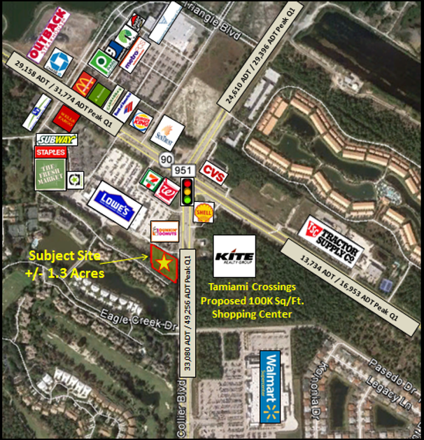 Trade Area & ADT Traffic Counts of 6565 Collier Blvd, Naples Commercial Properties for Lease | Baldridge Properties